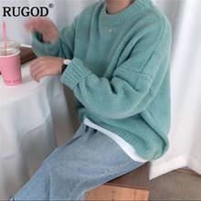 RUGOD New Oversized Women Sweater O-Neck Solid Casual Women Pullovers Knitted Warm Winter Clothes pull femme hiver