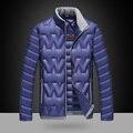2016 homens Da Moda Inverno Para Baixo Marca Jaqueta Nova Gola Slim Fit Jaquetas Blusão de 90% Pato Branco Quente Para Baixo casaco