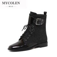 MYCOLEN/2018 модные мотоциклетные ботинки, женские ботинки, роскошные дизайнерские женские ботильоны, Ботинки на каблуке, Осенняя обувь