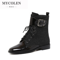 MYCOLEN 2018 Fashion Motocycle Booties Women Boots Luxury Designer Female Womens Ankle Boots Heel Martin Boots Autumn Shoes