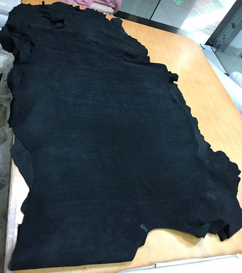 black Genuine pig split skin leather lining soft suede material sale by whole piece