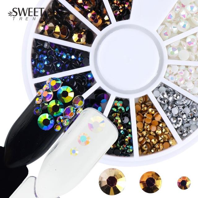 Mixed Colors Nail Art Wheel Rhinestones 2/3/4mm Flame AB Shiny Resin ...