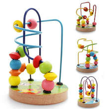 Children beech intellectual small round beads around the solid wood beaded children wear beads baby early education puzzle toys