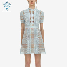 CUERLY 2019 Summer Runway Hollow Out Sky Blue Water Soluble O-neck Lace Dress Women Sexy Short Sleeve slim Mini Dresses Vestidos sky blue cut out design random floral print mini dresses