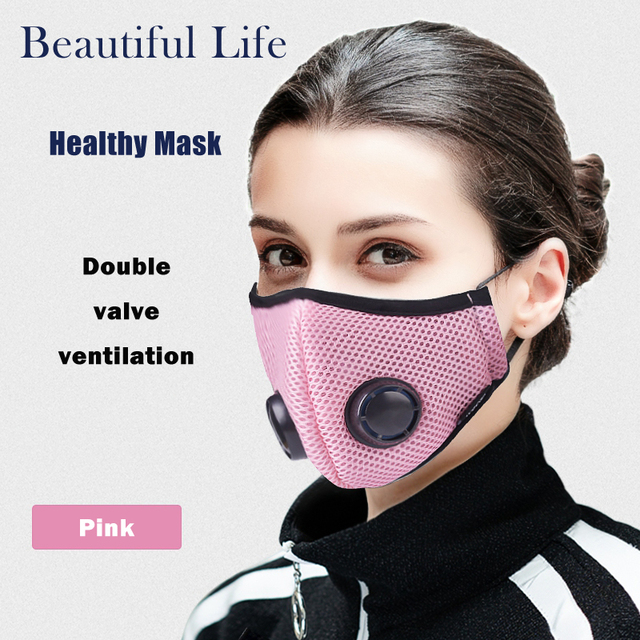 Activated Carbon Dustproof Mask, Anti Haze Face Mask Anti Pollen Allergy PM2.5 Dust Mask with Filter Cotton Sheet and Valves 2
