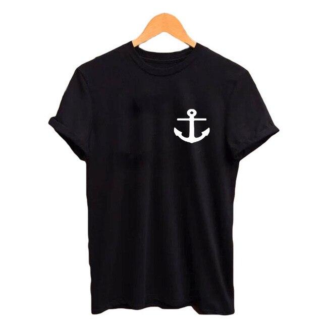 61d43341 Nautical Anchor Pocket Tee Shirt Funny TShirts Instagram Tumblr T Shirt  Womens Graphic Tees Hipster Cotton Crewneck Tops