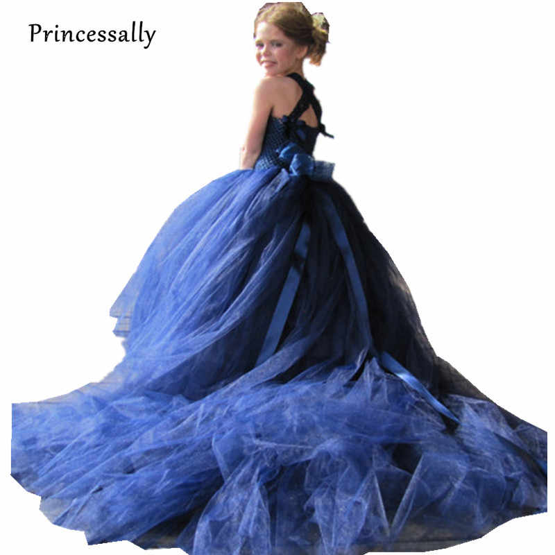 d06c95b72f1f Detail Feedback Questions about Navy blue Flower Girl Dress With Train Tutu Dress  Girls Tulle Flower Girl Dress Kids Prom Gown beauty pageant dresses For ...