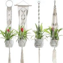 Вешалки для макраме для растений, ручная работа, для помещений, для улицы, подвесные корзины для растений, хлопковая веревка с бусинами, без Кистей, корзина, хлопковая веревка