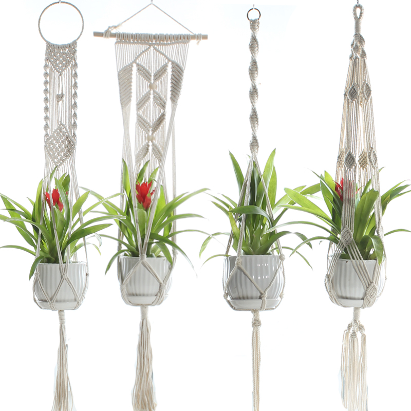 Macrame Plant Hangers Handmade Indoor Outdoor Hanging Planter Basket Cotton Rope With Beads No Tassels Basket Cotton Rope