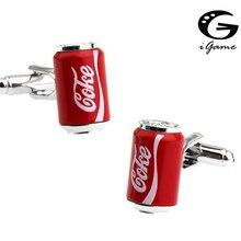 Игаме кока-колы Запонки Красный цвет Cola Дизайн качественный латунный материал
