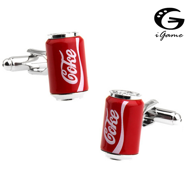 IGame Coke Cans Cuff Links Red Color Cola Design Quality Brass Material Free Shipping