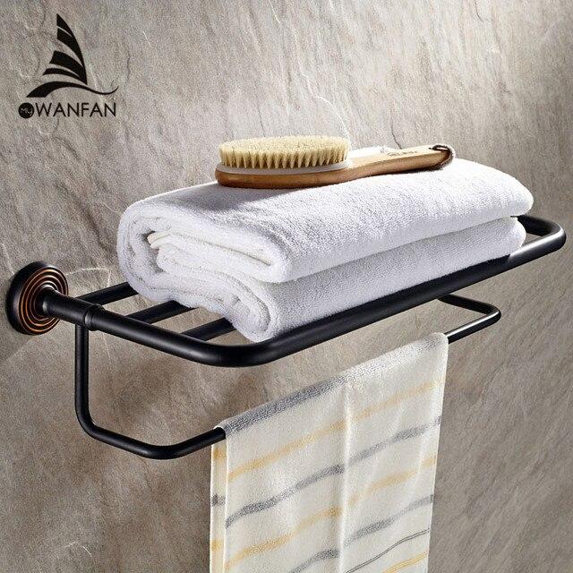 Vidricissant porte-serviettes mural à double niveau | Rails en laiton massif noir, étagère de bain, cintre porte-serviettes, pour la maison, support mural pour serviettes, modèle 4