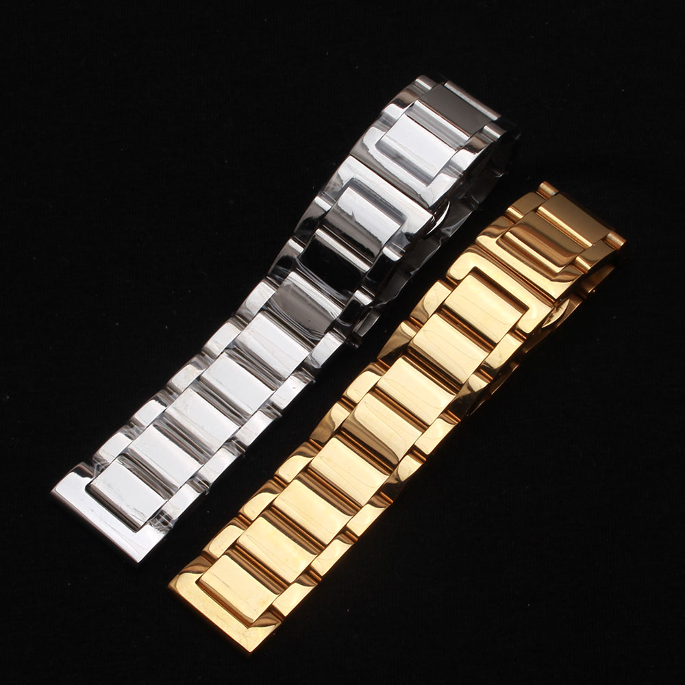 Watchbands 18mm 20mm 21mm 22mm 24mm Polished Metal Men's Silver Solid Stainless  Steel Watch Band Strap