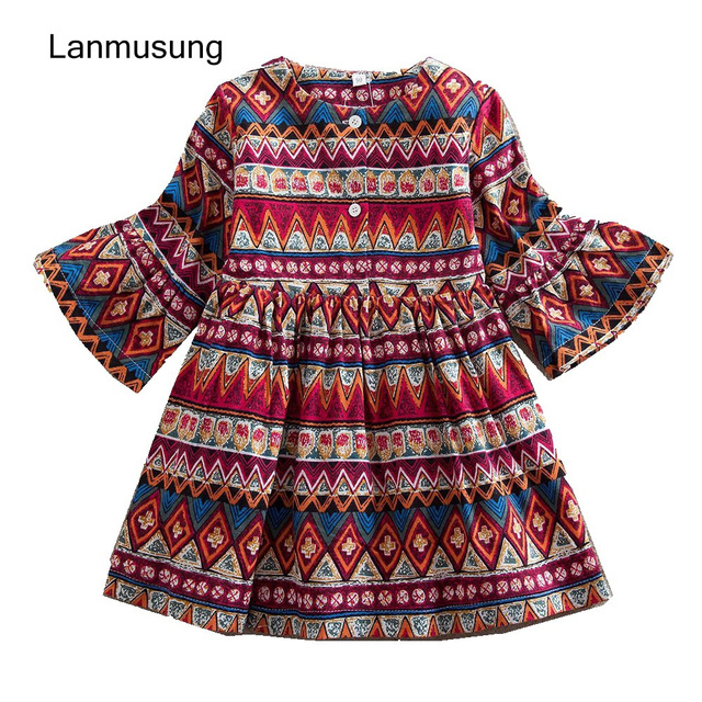 Girl Party Dress Long Sleeve Cotton Girl Clothes Baby Girl Dress