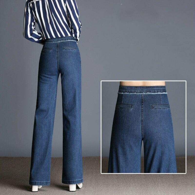 Pantalon Taille Bleu 2019 Haute Lâche Hiver Droite Nouveau Automne Filles 79115 Décontracté Bas Femelle Jeans Grande Large Coton En Élastique Mode RYY6Cqfw