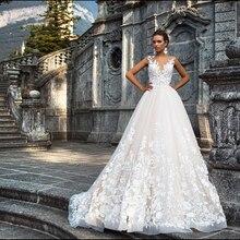 Свадебное платье трапеция с v образным вырезом и кружевом, новый дизайн, Аманда новиас, 2019