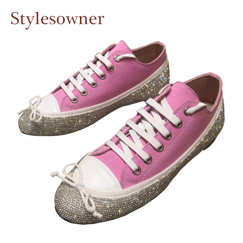 Stylesowner sweet bowtie with bling bling crystal decor women shoes for spring new lace up flat heel rhinestone lady casual shoe