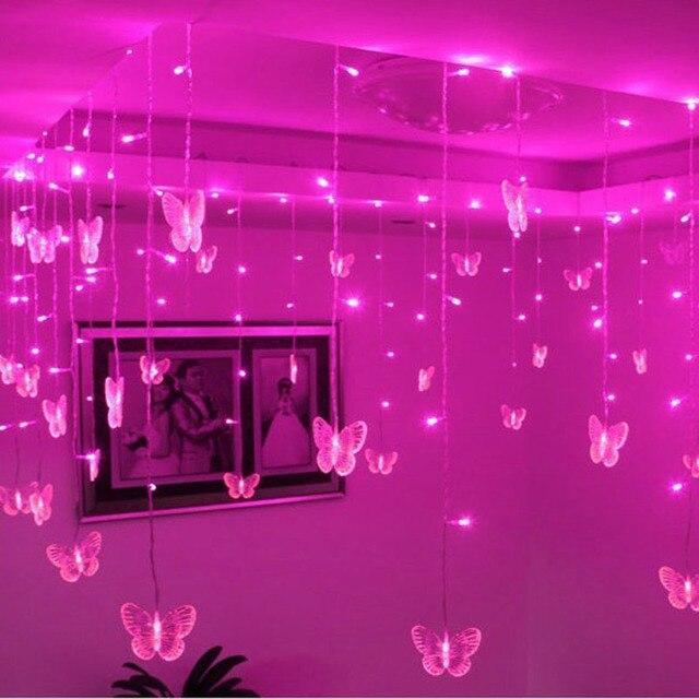 3,5 м Светодиодная лента с бабочкой, праздничные огни, Рождественские Свадебные Лампы 3,5 м 100SMD 110В/220В EU/US/UK/AU Plug