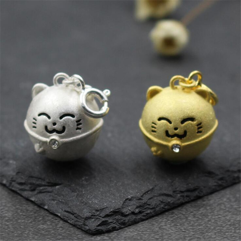 Fashion Jewelry Accessories Cartoon Fortune Cat Silver Gold Color Jingle Bells Charms 92 ...