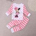 Menina Minnie Mouse a Roupa do bebê Set 2016 Bebê Crianças Pijamas Set Pijamas Tops + Calça Tamanho 2 T-6 T