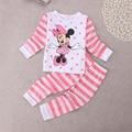 Ropa del Bebé de Minnie Mouse Set 2016 Bebé Pijamas de Los Cabritos Fijaron ropa de Noche Tops + Pants Tamaño 2 T-6 T