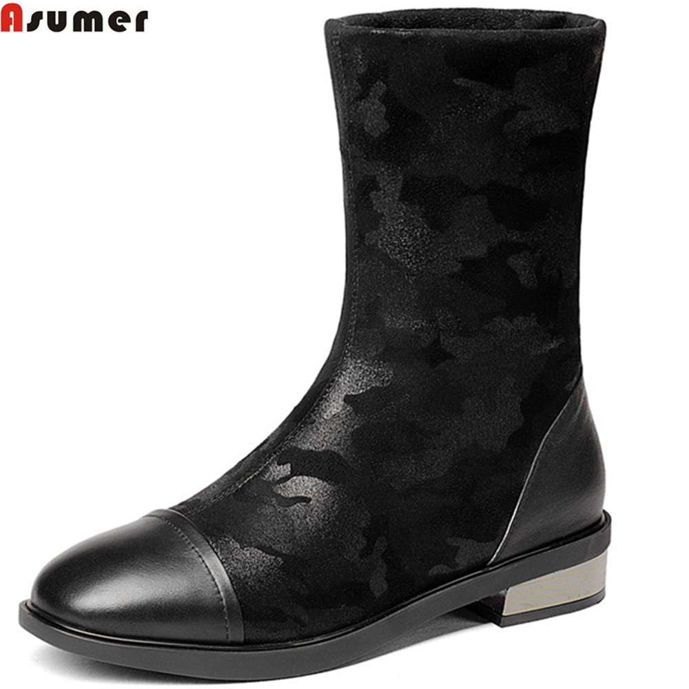 ASUMER fashion round toe women boots med heel genuine leather+stretch fabric ladies boots square heel cow leather ankle boots czrbt portable solo natural genuine cow leather women height increasing 3cm heel 4cm boots ladies fashion ankle boots walking