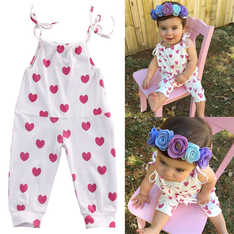 a9f6efa3a02d Baby Girl Romper Summer baby Pink Heart Cute White Cotton Newborn ...