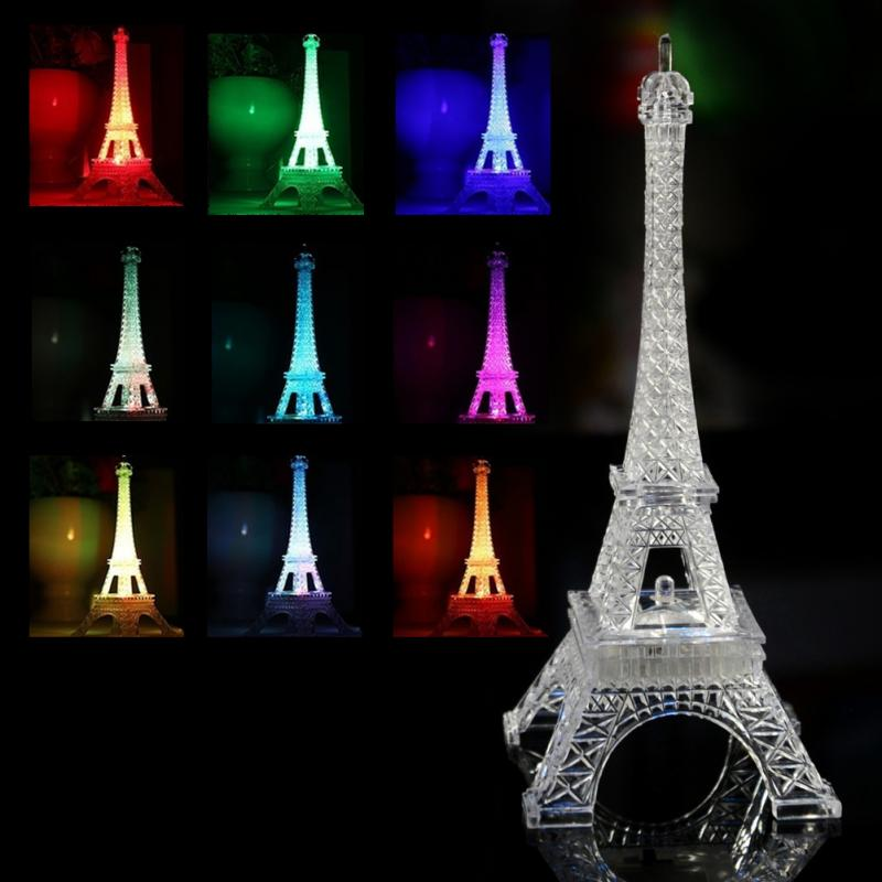 Fashion  Mini Eiffel Tower Lighting Lamp Desk Bedroom Night Light Decoration Table LED Lamp Romantic Atmosphere Lightings #1222