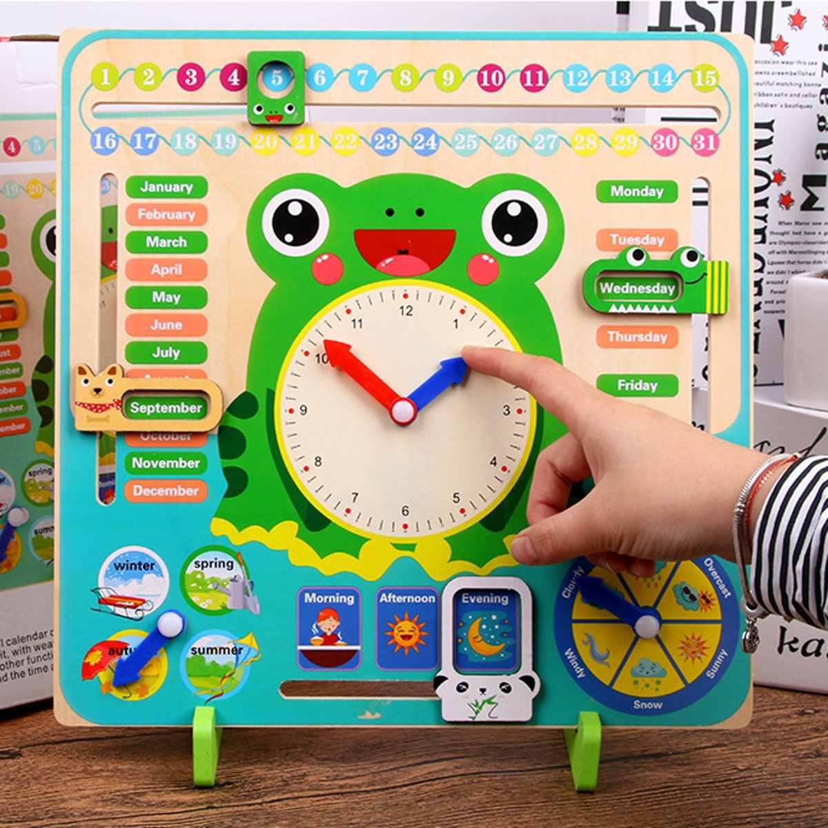 חינוכי עץ צעצוע ילדי בית ספר לוח שנה שעון מזג אוויר למידה לוח זמן קוגניטיבית צעצועי מתנות קוגניציה מונטסורי