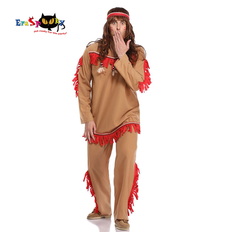 Eraspooky 2019 Carnival Party Cosplay Men Caveman Dresses Savages Halloween Costume Adult Native American Indian Fancy Dress