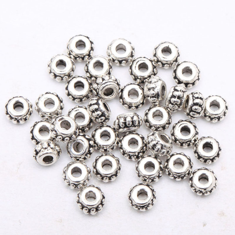 150pcs Circle Pattern Spacer Metal Flower Beads Tibetan Silver For Needlework For Jewelry Making Diy Bracelet Accessories