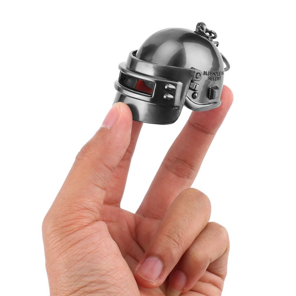 OCDAY Novelty Helmet Shape Mini Pendant Toy Keychain Game Player Metal Key Ring Men Jewe ...
