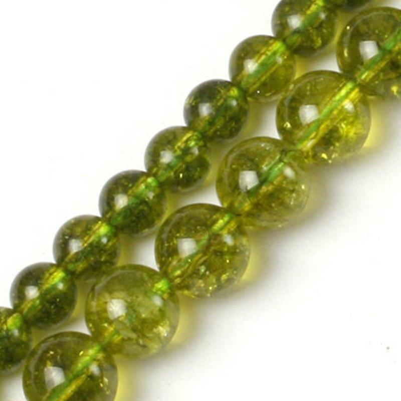 6-8 მმ მრგვალი მწვანე Peridot მძივები სამკაულების საყურეების საყურე ქალის სამაჯურები ქალის საჩუქარი 15 '' DIY მძივები