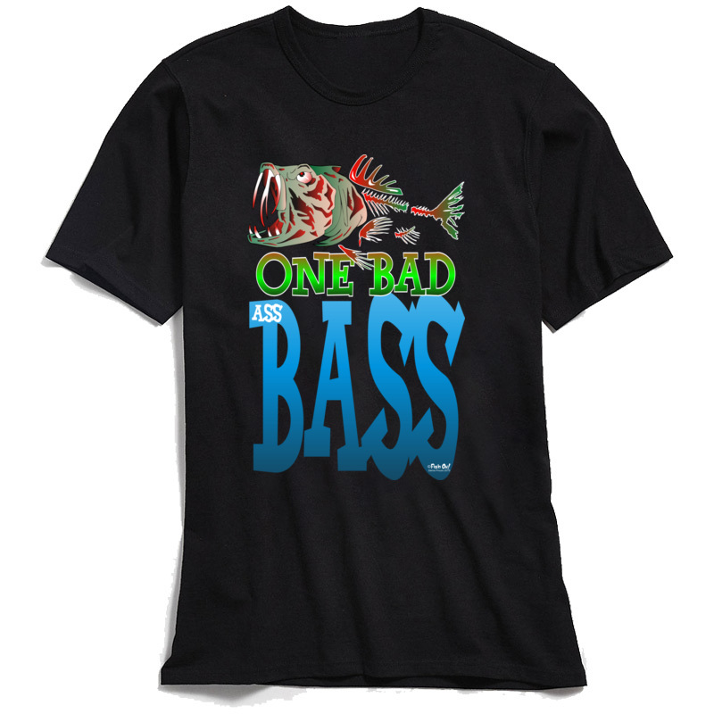 Men T Shirt One Bad <font><b>Ass</b></font> Bass <font><b>TShirt</b></font> Guys Hip Hop T-shirt Round Collar All Cotton Tops Fish Tees Letter Print Clothing Brand New image