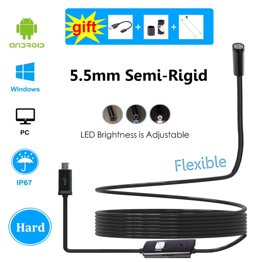New 5.5mm Android Endoscope Inspection Camera Waterproof USB Borescope Hard Cable Semi Rigid Flexible Tube for Samsung WindowsNew 5.5mm Android Endoscope Inspection Camera Waterproof USB Borescope Hard Cable Semi Rigid Flexible Tube for Samsung Windows
