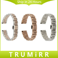 14mm de aço inoxidável pulseira butterfly fivela de cinto cinta faixa de relógio de pulso das mulheres dos homens universal link pulseira de ouro rosa de prata