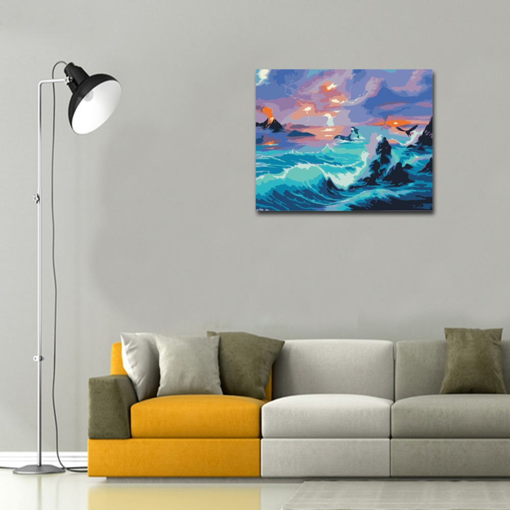 RIHE Night Ocean Diy Painting By Numbers Waves Oil Painting On Canvas Hand Painted Cuadros Decoracion Acrylic Paint Home Art in Painting Calligraphy from Home Garden