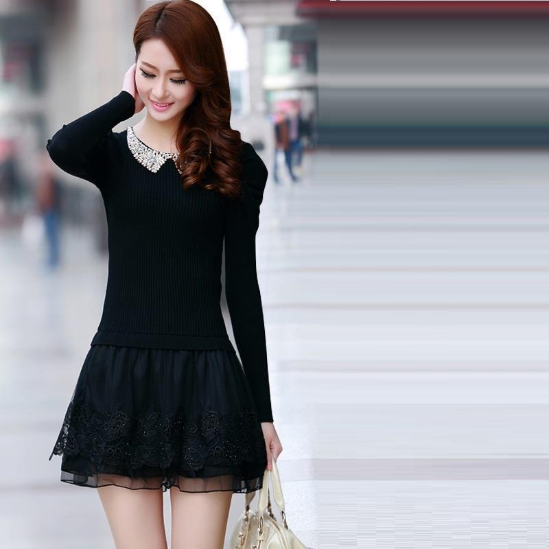 Midi A Manches Floral Casual Verano Invierno Robe Boho Model Dentelle B Longues Sukienka Coréenne Tricot Dresse model Automne Elbise 2018 Femmes À H0XTwxFZq