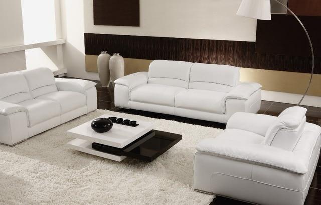Blanco/beige cuero seccional sofás Sala 8230 de cuero moderno salón ...