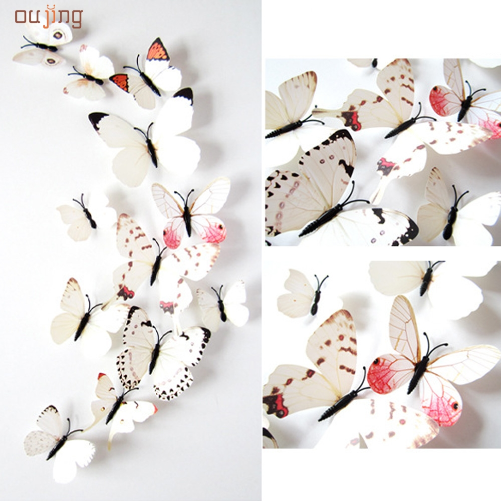12pcs sticker art design decal wall stickers home decorations 3d butterfly whitechina mainland - Wall Decals Designs