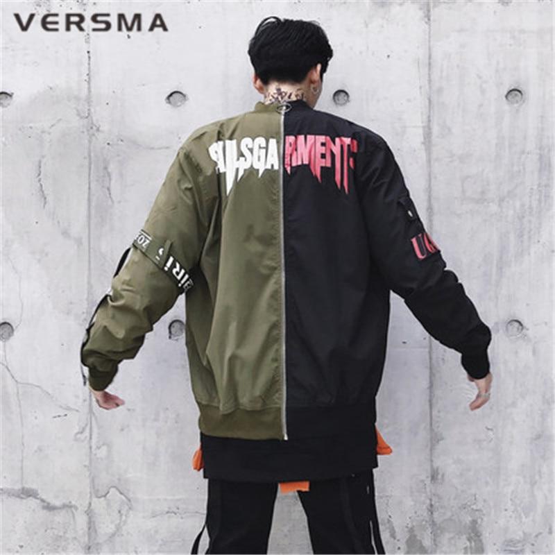 VERSMA 2018 Korean Harajuku Ulzzang Ribbon Patchwork Men Jacket Coat Autumn High Street Hip Hop Army Pilot MA1 Bomber Jacket Men