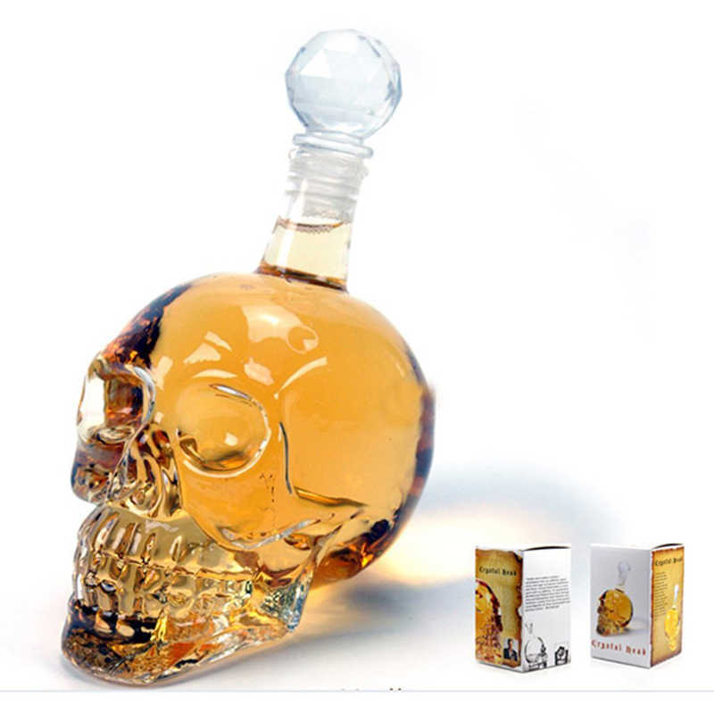KHGDNOR Crystal Skull Wine Bottle Whiskey Decanter Glass Bottle 125ml 350ml 550ml 1000ml Glass Wine Bottle