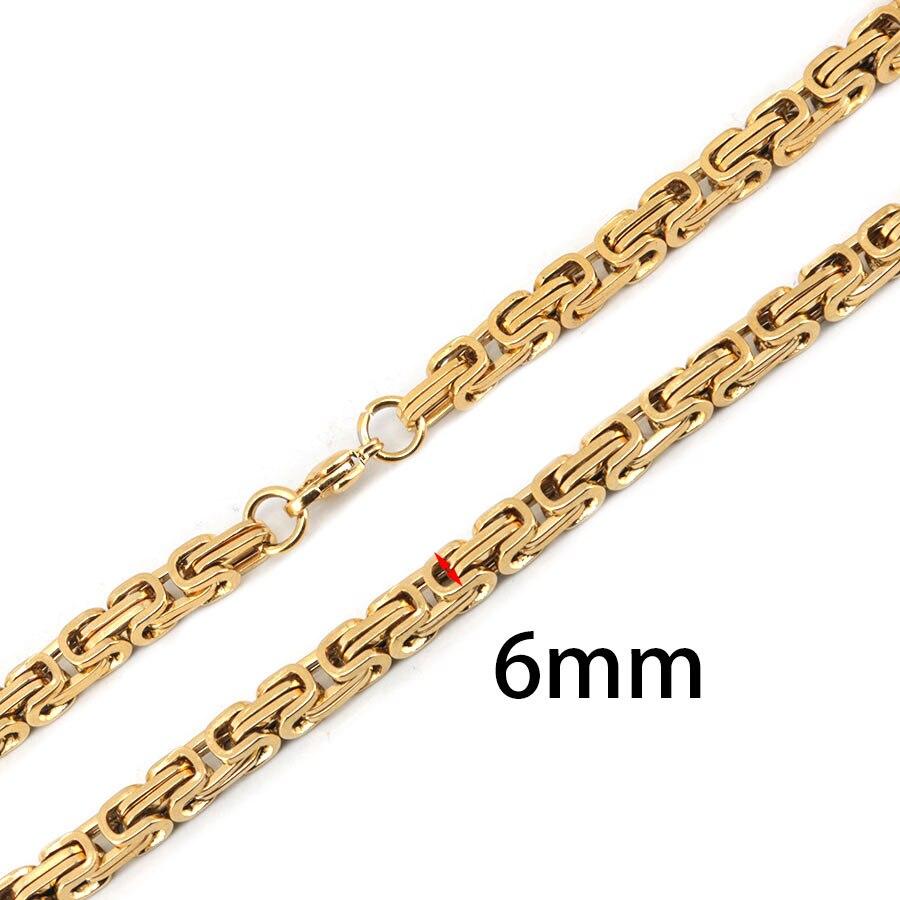 6 мм Для мужчин цепи покрытие золото тон Нержавеющаясталь ВИЗАНТИЙСКИЙ BOX Ссылка Цепочки и ожерелья