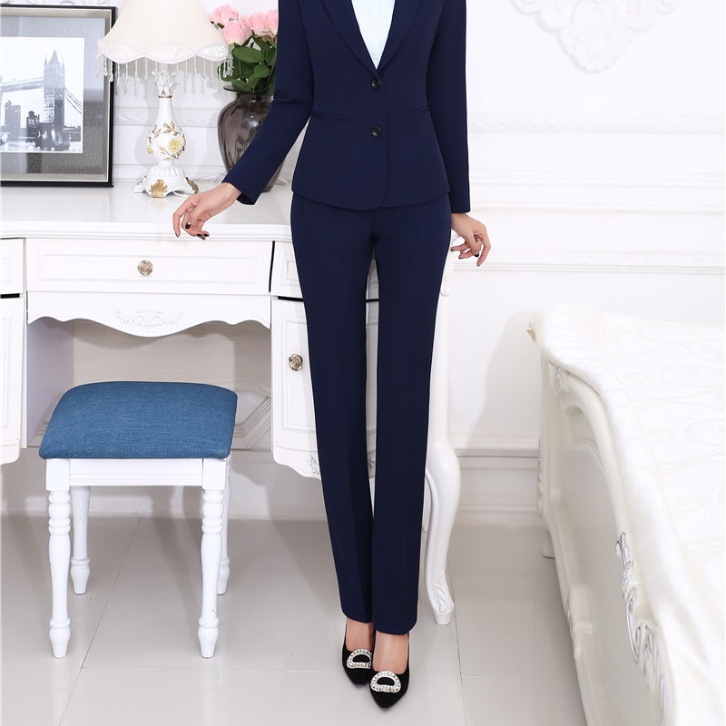 Plus Size 4XL Uniform Designs Female Pants Formal Office Work Wear Trendy Skinny Leggings Pants Trousers Capris Dark Blue