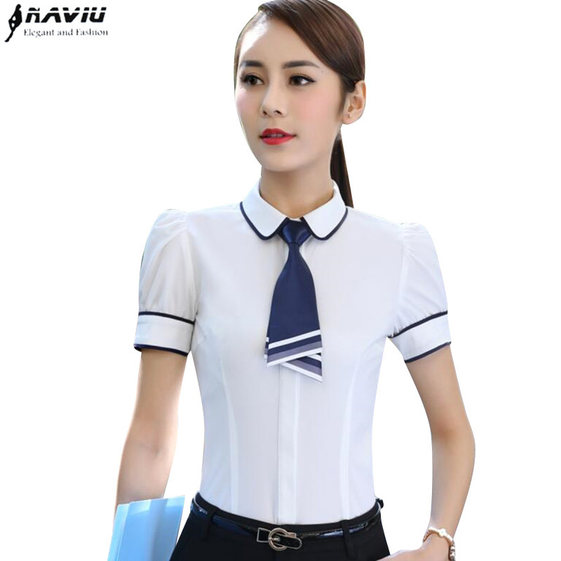 New Fashion Slim Bow Tie Shirt Women OL Career Formal