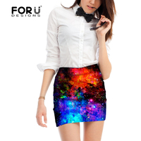 FORUDESIGNS 3D Galaxy Space Printed Women Mini Skirt Comfortable Sexy Short Skirts Office Jupe Femme Breathable Ladies Skirts