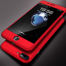 PLV 360 Case For iPhone 6 6S 7 Plus Case Hard Shockproof Slim Cover Full Cover Degree Protective Tempered Glass For iPhone 5 5s