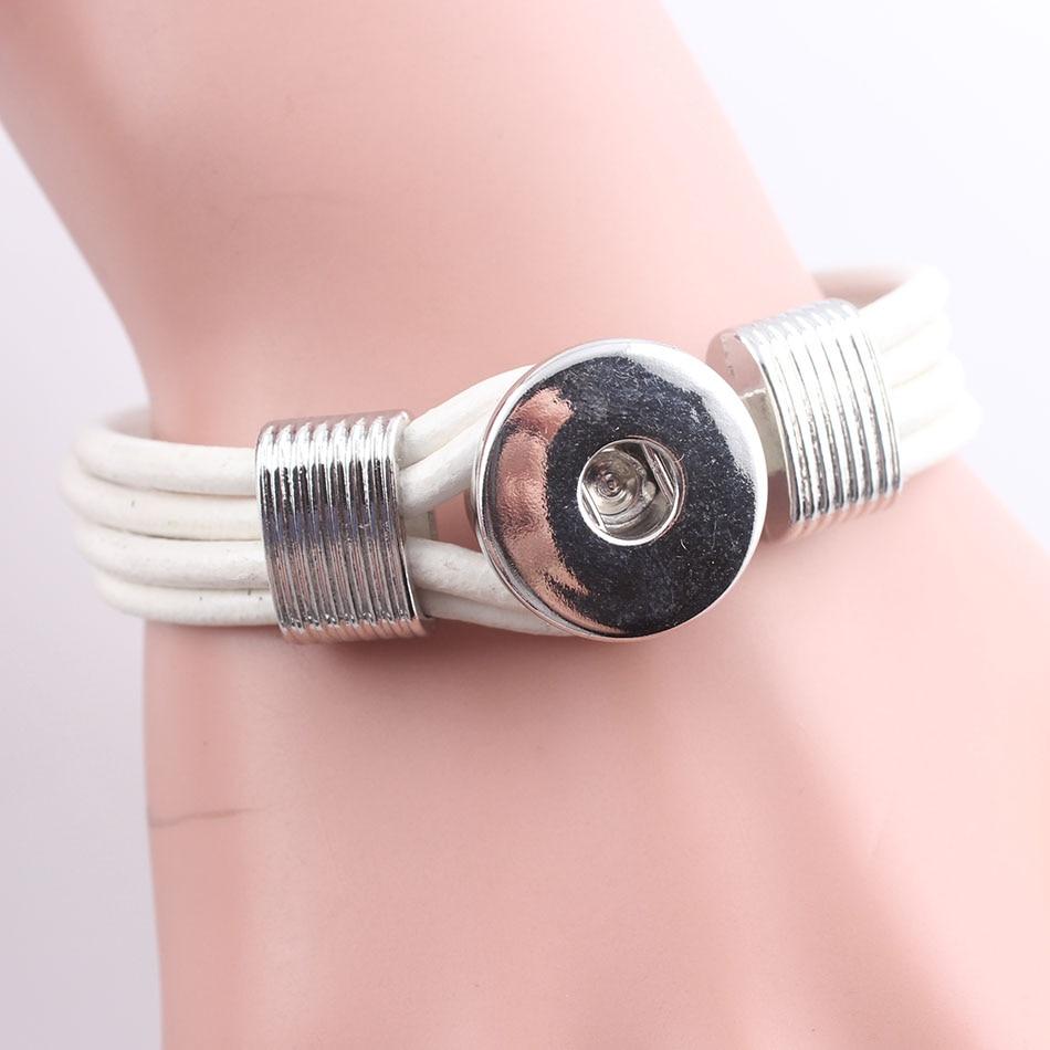 New Fashion Stylish Snap Bracelets&bangles Button White Leather Bracelets  For Women&men Hot Sale Jewelry Female Feal