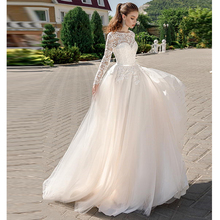 Verngo A-line Wedding Dress Appliques Tull Wedding Gowns Lace-up Elegant Bride Dress Long Sleeve Vestido De Noiva 2019 verngo ball gown wedding dress appliques tull wedding gowns lace up bride dress princess wedding dress destido de noiva sereia