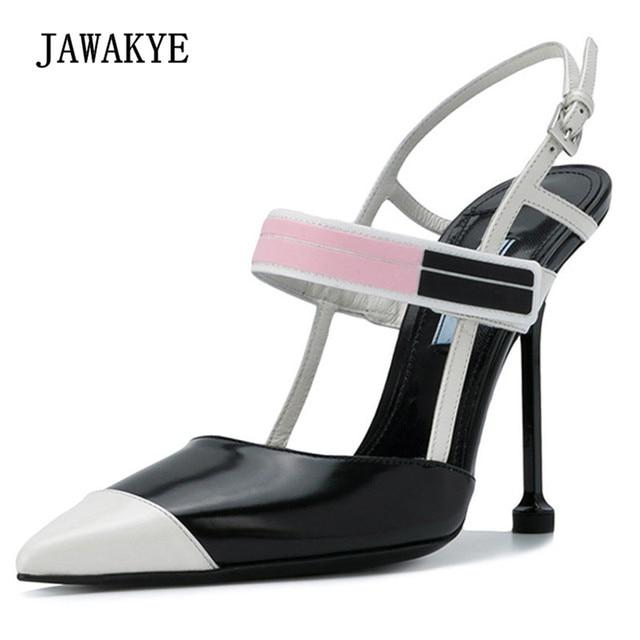 3f723e6588e8 2018 Fahion Runway Patchwork High Heels Shoes Women Pointed Toe Strange  Heel Pumps Lady Gladiator Sandals